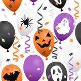 Globos y confeti de Halloween inconsútiles stock de ilustración