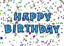 Globos y confeti del partido del feliz cumpleaños Fotos de archivo