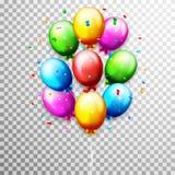 Globos y confeti para el cumpleaños de los partidos ilustración del vector