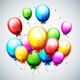 Globos y confeti para el cumpleaños de los partidos stock de ilustración