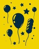 Globos y estrellas de la celebración En fondo amarillo Fotos de archivo