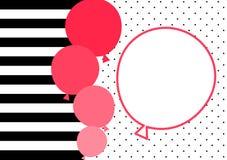 Rayas y tarjeta de la invitación de los globos del rosa Fotos de archivo libres de regalías
