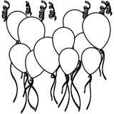 globos y serpentina determinados del vuelo de la silueta del bosquejo Imagen de archivo