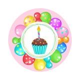 Globos y tortas ¡Feliz cumpleaños! Clipart del vector Imagen de archivo