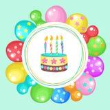 Globos y tortas ¡Feliz cumpleaños! Clipart del vector Imagenes de archivo