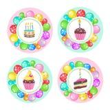 Globos y tortas ¡Feliz cumpleaños! Clipart del vector Imágenes de archivo libres de regalías
