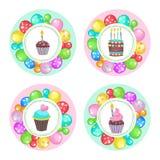 Globos y tortas ¡Feliz cumpleaños! Clipart del vector Fotos de archivo