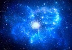 Globular cluster with nebula in the foreground. Illustration vector illustration