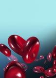 Globules sanguins sur le fond bleu Photos libres de droits