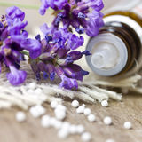Globuli with lavender. Globule with lavender on wooden table Royalty Free Stock Photos