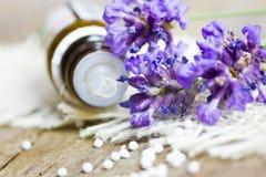 Globuli met lavendel Royalty-vrije Stock Foto