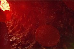globuli rossi dell'illustrazione 3D in vena I globuli rossi entrano in nave concetto umano medico di sanità Immagine Stock