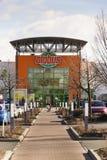 Globus大型超级市场在商店前面的公司商标2017年2月25日在布拉格,捷克共和国 库存照片