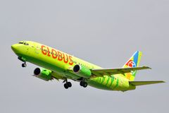 Globus Boeing 737. MOSCOW, RUSSIA - MAY 10, 2013: Globus Boeing 737 takes off Domodedovo International Airport Stock Image