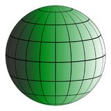 Globus 3D earth grid, the effect of illumination by the sun, vector green planet, model of the earth royalty free illustration