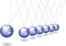 Globus newton pendular. Newton pendulum with globes in action Stock Photography