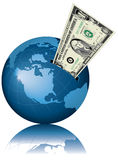 - globus pieniądze Obraz Royalty Free