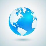 - globus ziemi Błękitna planety sfery ikona z białą mapą Zdjęcia Royalty Free