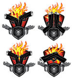 Glock pistol fire background artwork Stock Image
