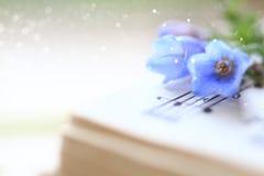 Glockenblumen auf einem Musikbuch Lizenzfreie Stockfotografie