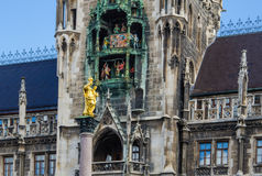 Glockenspiel at historic Marienplatz in Munich. The landmark Marienplatz, home of Germany`s largest glockenspiel clock, at in Munich stock image