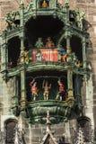Glockenspiel - Neue Rathaus - Munich Germany. Glockenspiel - Detail of the ancient carillon of the Neue Rathaus of Munich New Town Hall XIX century neo-Gothic stock photo