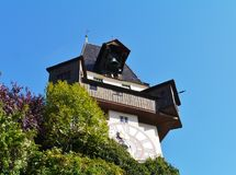 glockenturm或钟楼在格拉茨在奥地利 图库摄影