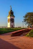 Glockenturm bei Sonnenuntergang stockfoto