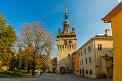 Glockenturm in Sighisoara Stockbild