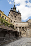 Glockenturm in Sighisoara Stockbilder