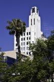 Glockenturm und Palme Stockbild