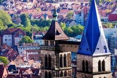 Glockenturm von Kirche St. Dionysius in Esslingen Stockfotografie