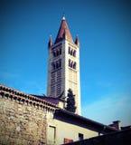 Glockenturm von San Zeno Basilica in Verona in Italien mit Weinlese Lizenzfreies Stockbild