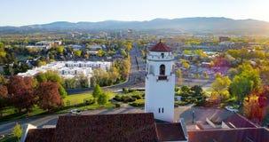 Glockenturm von Zug Depot und Boise Skyline Stockbild