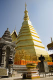 Glod chedi of Wat Phra That Cho Hae temple for people visit and pray Stock Images