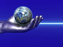 Glode and hand. Silver hand and globe  - digital artwork Stock Photography