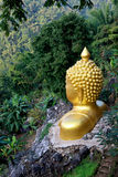Gloden buddha in mountian Royalty Free Stock Photography
