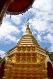 Gloden Chedi of Wat Phan On in Chiang Mai, Thailand. Gloden Chedi on cloudy sky Stock Image