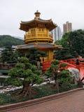 Gloden Pagoda in Nan Lian Garden. NanLian Garden in Hongkong Royalty Free Stock Photo