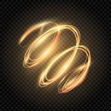 Gloed gouden werveling Glanzend spiraalvormig lijneneffect Lichte gouden draai Het gloeien schittert sleep Brand spiraalvormig sp stock illustratie