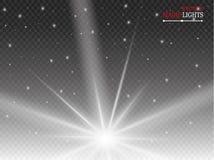 Gloed lichteffect Starburst met fonkelingen op transparante achtergrond Vector illustratie stock illustratie
