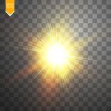 Gloed lichteffect Starburst met fonkelingen op transparante achtergrond Vector illustratie Royalty-vrije Stock Fotografie