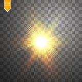 Gloed lichteffect Starburst met fonkelingen op transparante achtergrond Vector illustratie Stock Afbeelding