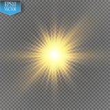 Gloed lichteffect Starburst met fonkelingen op transparante achtergrond Vector illustratie Stock Afbeeldingen