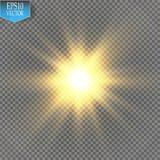 Gloed lichteffect Starburst met fonkelingen op transparante achtergrond Vector illustratie Stock Fotografie