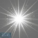 Gloed lichteffect Starburst met fonkelingen op transparante achtergrond Vector illustratie Stock Foto's