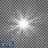 Gloed lichteffect Starburst met fonkelingen op transparante achtergrond Vector illustratie Stock Foto