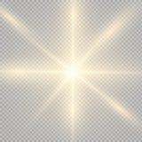 Gloed lichteffect Steruitbarsting met Fonkelingen Zon Royalty-vrije Stock Afbeeldingen