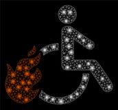 Gloed Mesh Carcass Fired Disabled Person met Gloedvlekken stock illustratie