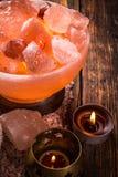 Gloed zoute lamp stock afbeelding